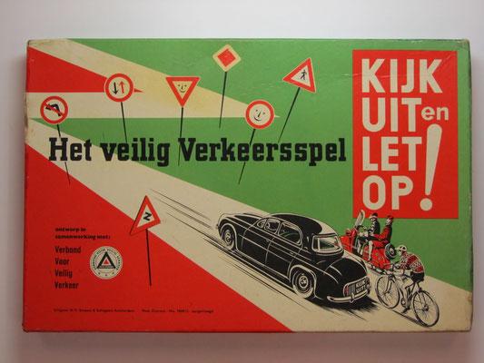 Bordspel: Het Veilig Verkeersspel. Kijk uit en let op! Ontwerp in samenwerking met Verbond Voor Veilig Verkeer. Uitgave: N.V. Smeets & Schippers.