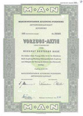 Een aandeel van 100 DM Machinenfabrik Augsburg-Nurnberg A.G. uit 1955.