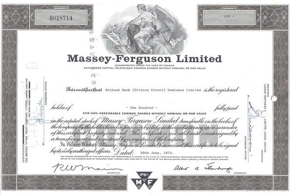 Certificaat voor 100 aandelen Massey-Ferguson Limited uit 1974.