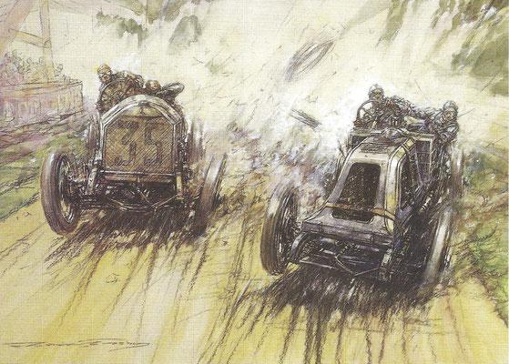 Lautenschlager met een Mercedes passeert Sziisz met een Renault in de Franse Grand Prix van 1908. De kunstenaar is Frederick Gordon Crosby.