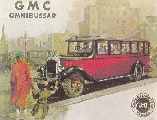 Zweedse catalogus uit 1930 van GMC personenbussen, deze waren uitgerust met Chevrolet of Buick motoren.