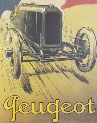 Affiche van René Vincent met een Peugeot racewagen.