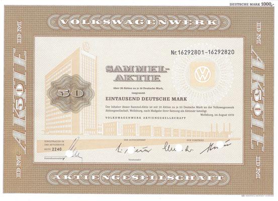 Aandeel DM 1.000 Volkswagenwerk A.G. uit 1978.