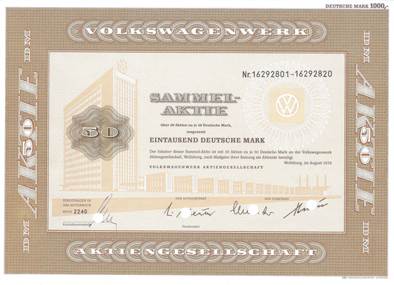Aandelen (Aktien) DM 1.000 Volkswagenwerk A.G. Wolfsburg uit 1978.