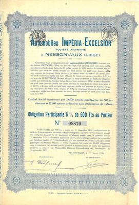 Obligatie Automobiles Impéria-Excelsior S.A. uit 1928.