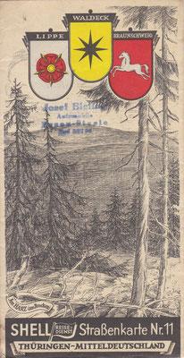 SHELL Strassenkarte, Nr.11 Thüringen - Mitteldeutchland (na 1924, vóór 1940).