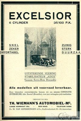 Een advertentie voor Excelsior uit 1927.