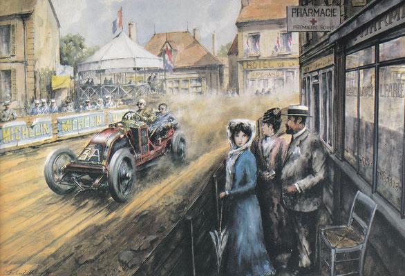 De eerste grote Grand Prix op een gesloten circuit werd gehouden in Le Mans in 1906. Op dit kunstwerk van Michael Wright zien we de winnende Renault  die door een dorpje op het circuit rijdt.