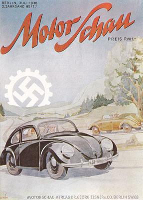 Een van de eerste advertenties voor de Volkswagen op de voorpagina van Motor Schau van juli 1938. Het is eigenlijk meer een propagandastunt.