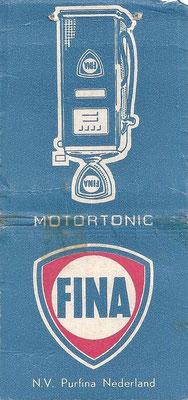 Kaartje afbreeklucifers uitgegeven door Fina.