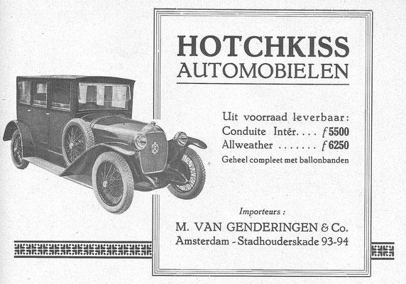 Een Nederlandse advertentie voor Hotchkiss uit 1926.