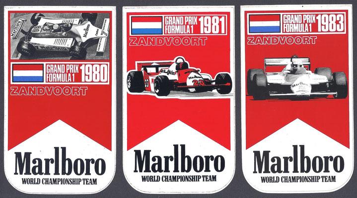 Stickers Grand Prix Formule 1 Zandvoort 1980, 1981 en 1983.