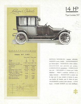 Een specificatieblad van de Lorraine Dietrich, type Lorraine NF 14 HP.