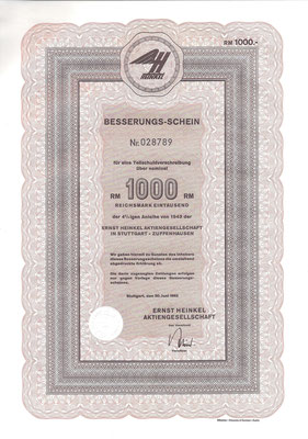 Besserungs-schein 1000 RM Ernst Heinkel A.G. Stuttgart-Zuffenhausen uit 1962.