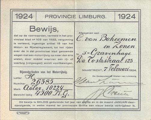 Een bewijs van vergunning uit 1924 tot het rijden van een Motorrijtuig.