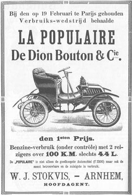 Nederlandse advertentie De Dion Bouton uit 1903.
