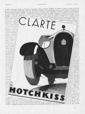Advertentie Hotchkiss in l'Illustration uit 1931.