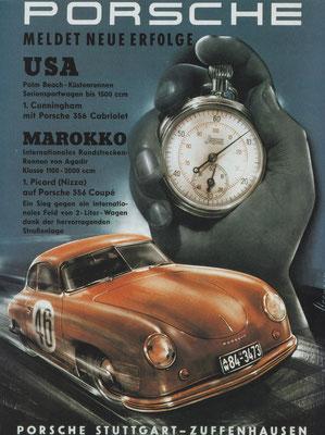 Reclame Porsche uit 1952.