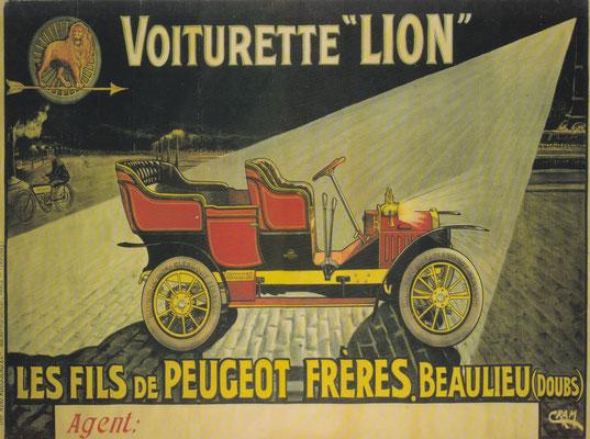 Reclame uit 1909 voor de Lion-Peugeot.