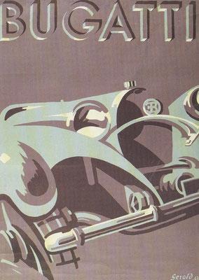 Affiche Bugatti ontworpen door Gerold.