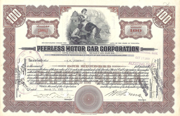 100 Aandelen Peerless Motor Car Corporation  uit 1929.