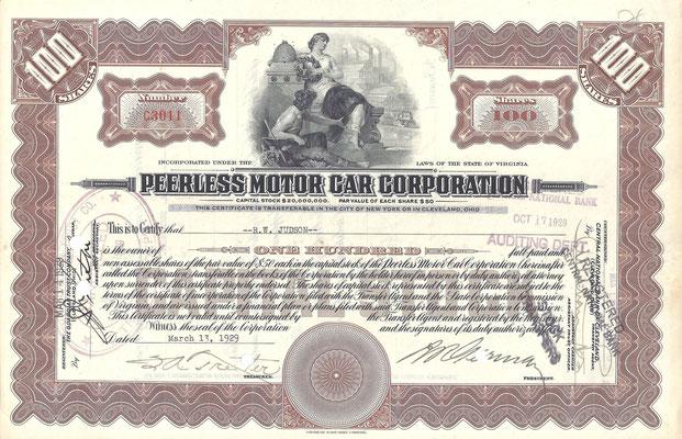 Certificaat voor 100 aandelen Peerless Motor Car Corporation  uit 1929.
