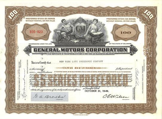 Certificaat voor 100 aandelen General Motors Corporation uit 1949.