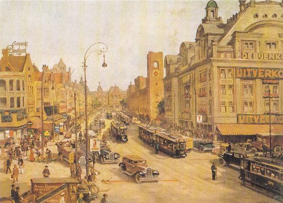 Amsterdam, Rokin en Damrak, 1938, schoolplaat van Gabriëlse.