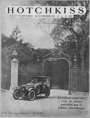 Advertentie Hotchkiss in l'Illustration uit 1923.
