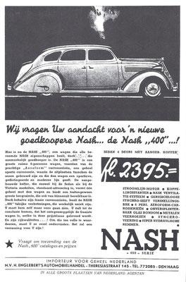 Nederlandse advertentie voor Nash uit 1936.