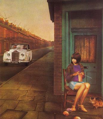 Kunstwerk met Cilla Black en een Rolls-Royce Silver Cloud.