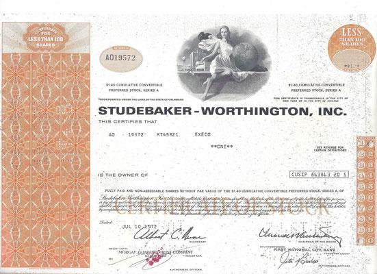Certificaat voor 1 aandeel Studebaker-Worthington, Inc. uit 1972.