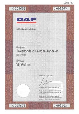 20 Aandelen DAF N.V. uit 1989.
