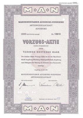 Een aandeel van 1.000 DM Machinenfabrik Augsburg-Nurnberg A.G. uit 1955.