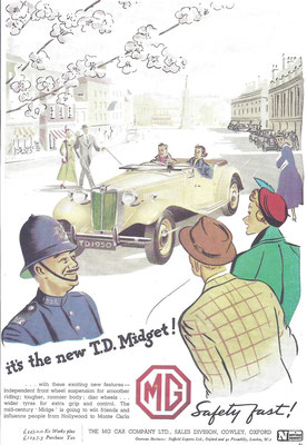 Advertentie M.G. T.D. Midget.