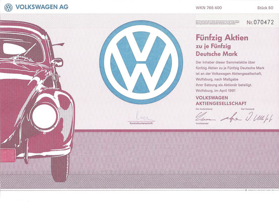 Aandelen (Aktien) DM 2.500 Volkswagen A.G. Wolfsburg uit 1991.