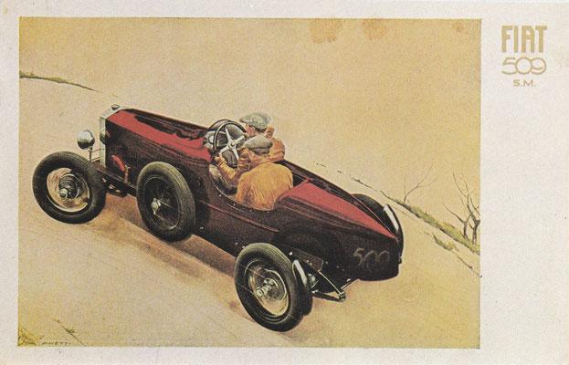Een postkaart van Fiat uit 1927 ontworpen door G. Minetti.