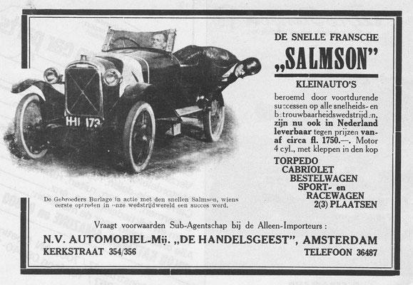Nederlandse advertentie voor Salmson.
