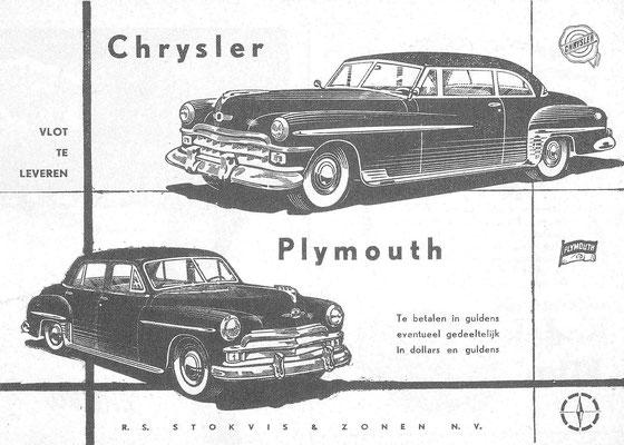 Nederlandse advertentie voor Chrysler en Plymouth.