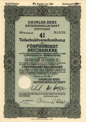 Obligatie (Teilschuldverschreibung) 500 RM Daimler-Benz A.G. Stuttgart uit 1942.