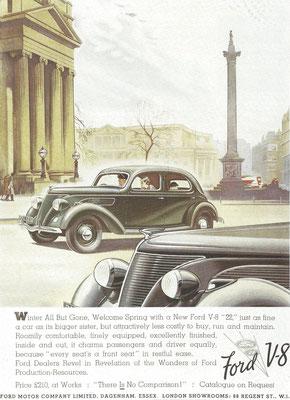 Engelse reclame voor de Ford V8 uit 1937.