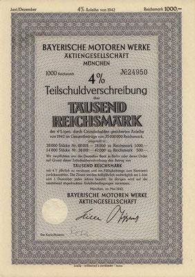 Obligatie (Teilschuldverschreibung) 1000 RM Bayerische Motoren Werke A.G. München uit 1942.