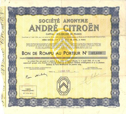 S.A. André Citroën, obligatie uit 1936.