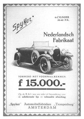 Een advertentie voor Spyker.