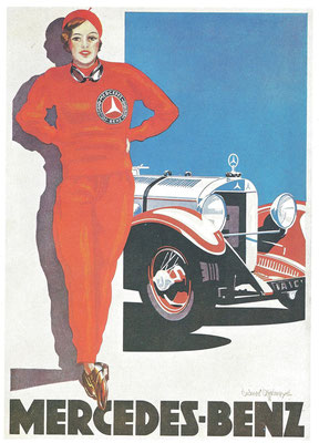 Een affiche voor de Mercedes-Benz S uit 1928.