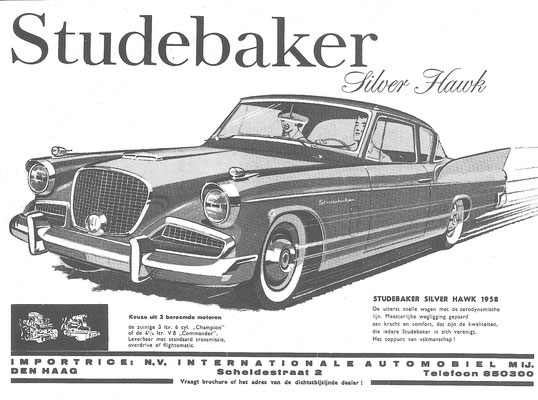 Een Nederlandse advertentie voor de Studebaker Silver Hawk uit 1958.