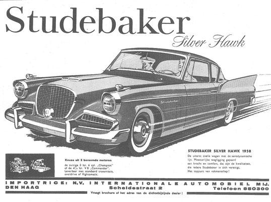 Nederlandse advertentie voor de Studebaker Silver Hawk uit 1958.