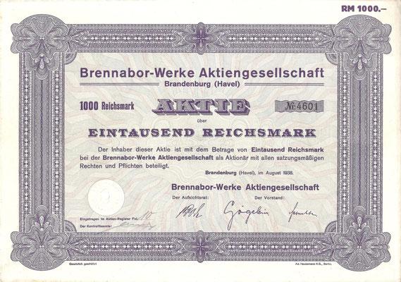 Aandeel (Aktie) 1000 RM Brennabor-Werke A.G. Brandenburg uit 1938.