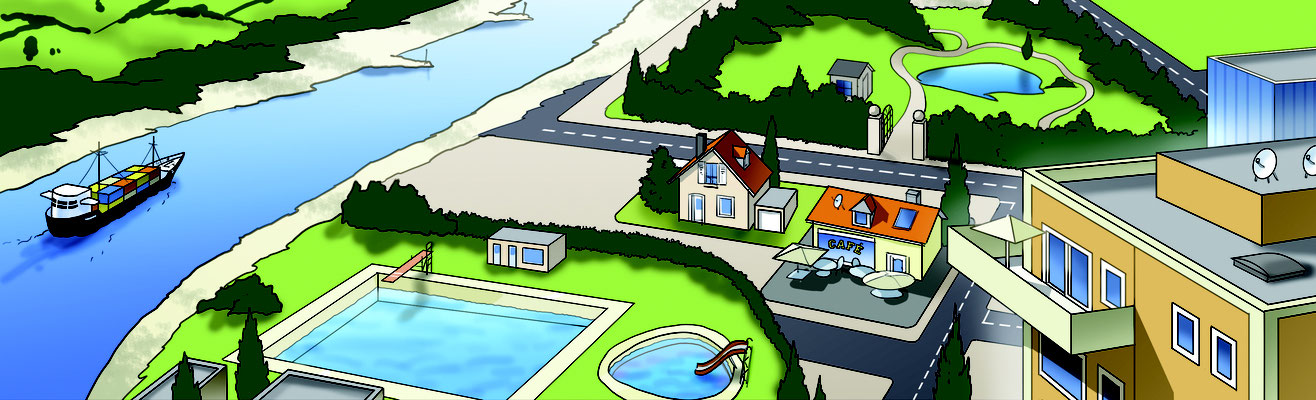 Illustration_Bird's eye-view town