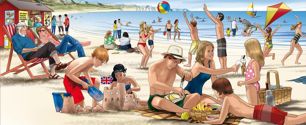 Illustration_Englische Strandszene